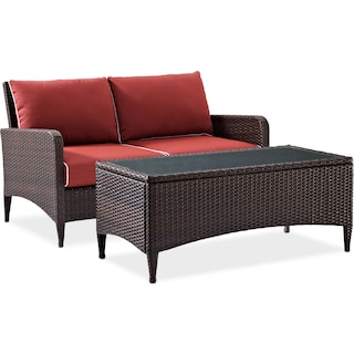Corona Outdoor Loveseat and Cocktail Table Set - Sangria