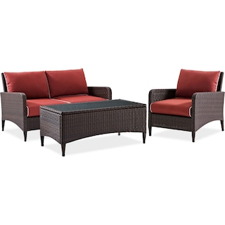 Corona Outdoor Loveseat, Chair and Cocktail Table Set - Sangria