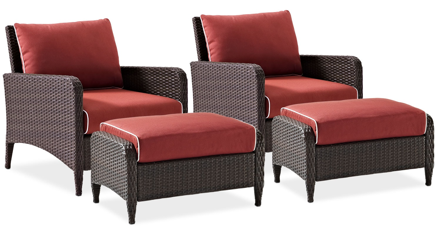 Outdoor Furniture   Corona Set Of 2 Outdoor Chairs And Ottomans   Sangria