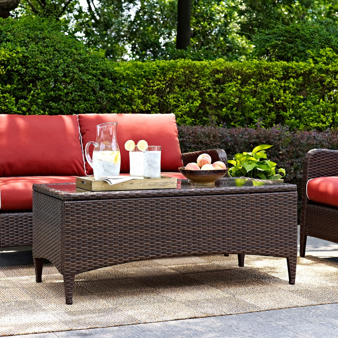Corona Outdoor Loveseat Chair And Coffee Table Set