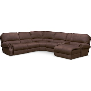 Dartmouth 6-Piece Power Reclining Sectional w/ Right-Facing Chaise and 1 Reclining Seat - Mocha