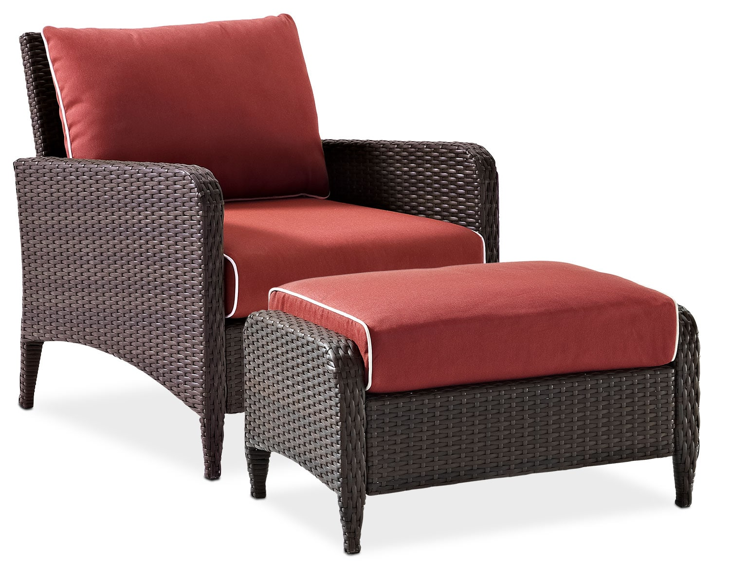 Outdoor Furniture - Corona Outdoor Chair and Ottoman Set - Sangria