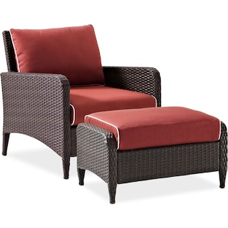 Corona Outdoor Chair and Ottoman Set - Sangria