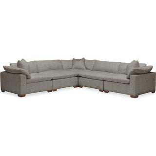 Plush 5 Pc. Sectional- in Victory Smoke