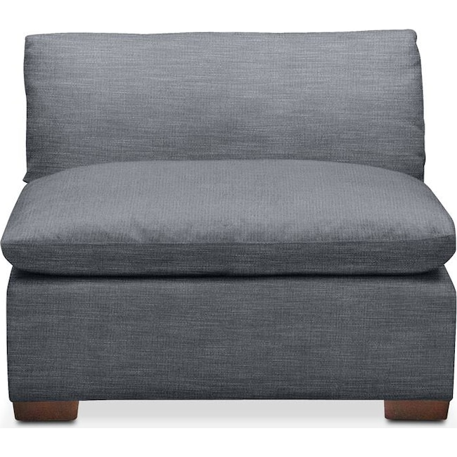 Living Room Furniture - Plush Armless Chair- in Dudley Indigo