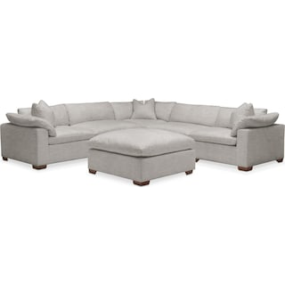 Plush 6 Pc. Sectional- in Dudley Gray