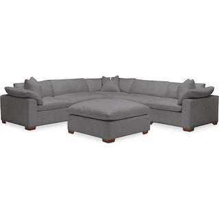 Plush 6 Pc. Sectional- in Hugo Graphite