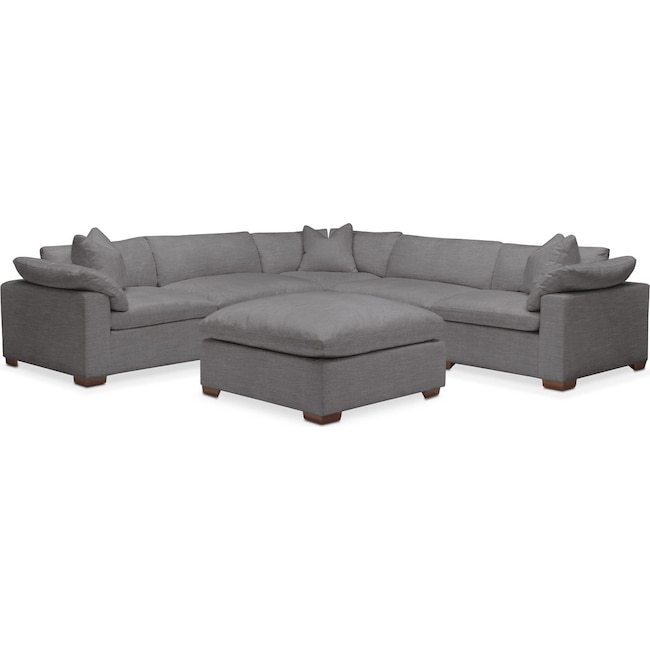 Living Room Furniture - Plush 6 Pc. Sectional- in Hugo Graphite
