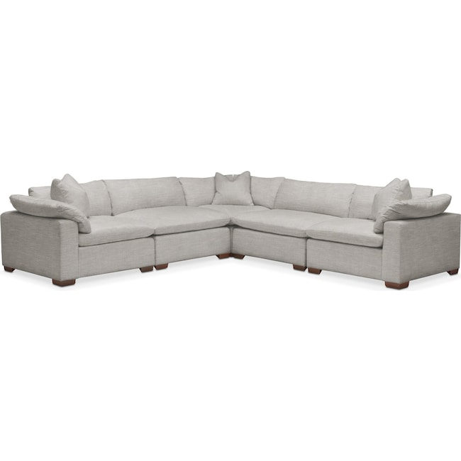 Living Room Furniture - Plush 5-Piece Sectional - Dudley Gray