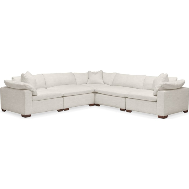 Living Room Furniture - Plush 5 Pc. Sectional- in Anders Ivory