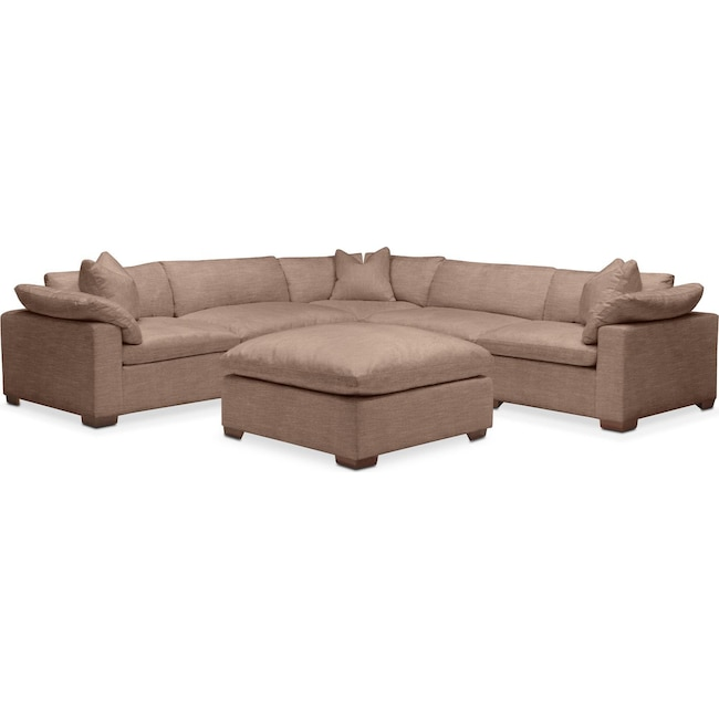 Living Room Furniture - Plush 6 Pc. Sectional- in Abington TW Antler