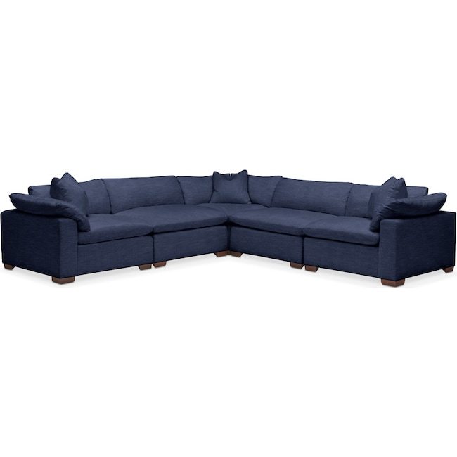 Living Room Furniture - Plush 5-Piece Sectional - Oakley III Ink