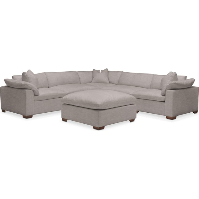 Living Room Furniture - Plush 6 Pc. Sectional- in Curious Silver Rine