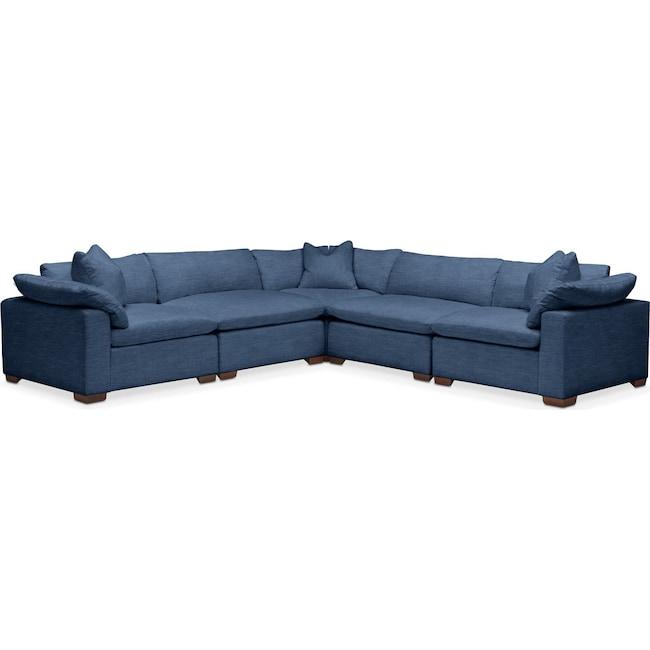 Living Room Furniture - Plush 5 Pc. Sectional- in Hugo Indigo