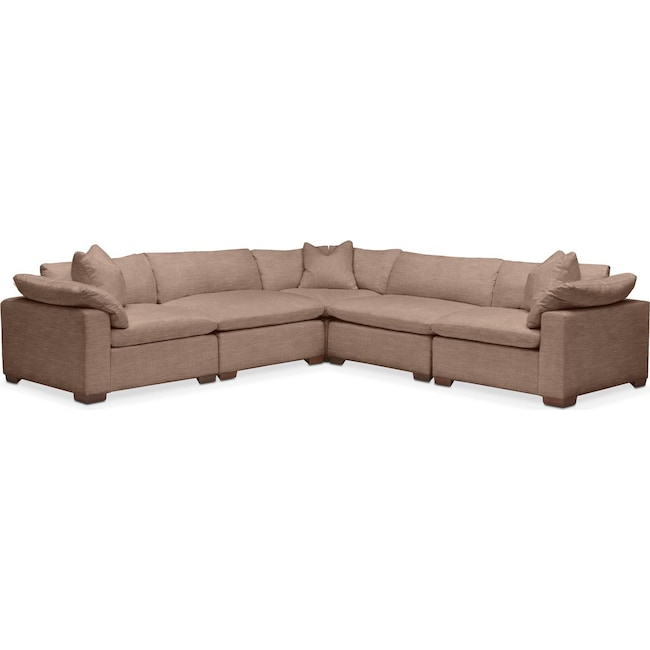Living Room Furniture - Plush 5 Pc. Sectional- in Abington TW Antler