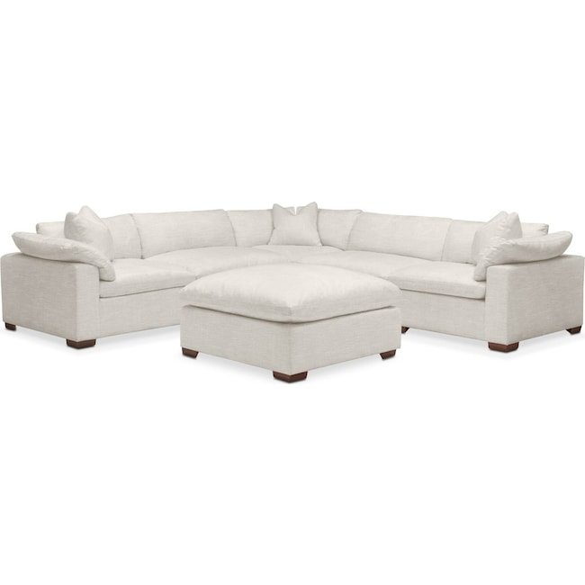 Living Room Furniture - Plush 6 Pc. Sectional- in Anders Ivory