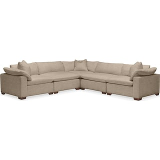 Plush 5 Pc. Sectional- in Dudley Burlap