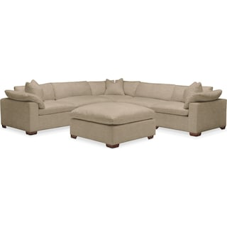 Plush 6 Pc. Sectional- in Milford II Toast