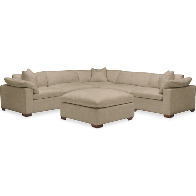 Living Room Furniture - Plush 6 Pc. Sectional- in Milford II Toast
