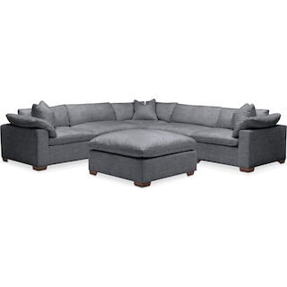 Plush 6 Pc. Sectional- in Milford II Charcoal