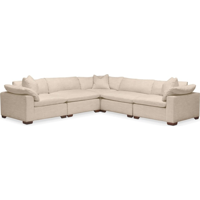 Living Room Furniture - Plush 5 Pc. Sectional- in Dudley Buff