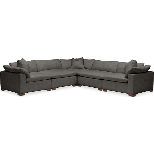 Living Room Furniture - Plush 5 Pc. Sectional- in Statley L Sterling