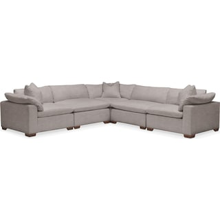 Plush 5 Pc. Sectional- in Curious Silver Rine