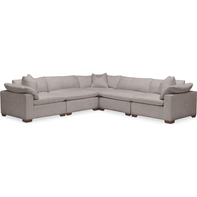 Living Room Furniture - Plush 5 Pc. Sectional- in Curious Silver Rine