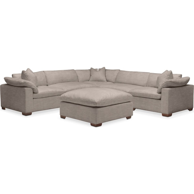 Living Room Furniture - Plush 6 Pc. Sectional- in Abington TW Fog