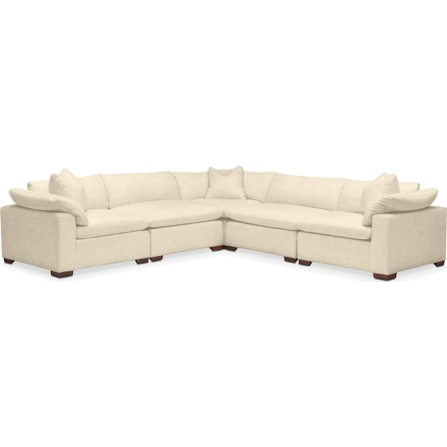 Living Room Furniture - Plush 5 Pc. Sectional- in Anders Cloud