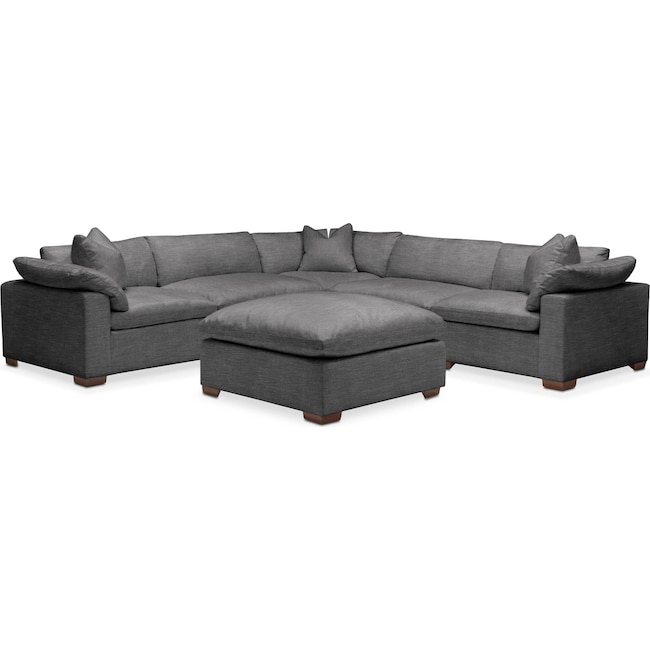 Living Room Furniture - Plush 6 Pc. Sectional- in Curious Charcoal