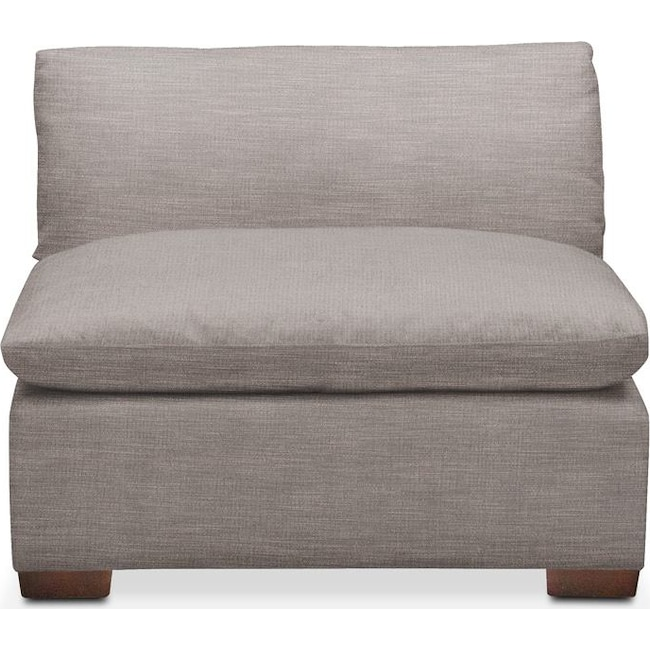 Living Room Furniture - Plush Armless Chair- in Curious Silver Rine