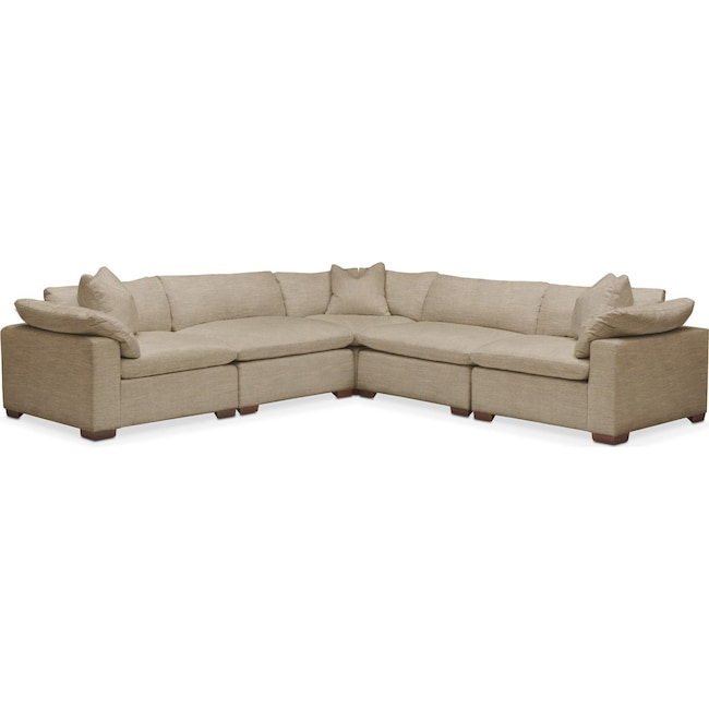 Living Room Furniture - Plush 5 Pc. Sectional- in Milford II Toast
