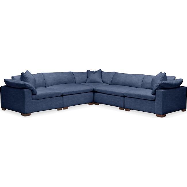 Living Room Furniture - Plush 5 Pc. Sectional- in Abington TW Indigo