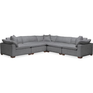 Plush 5 Pc. Sectional- in Depalma Charcoal