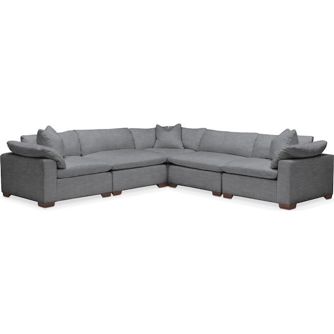 Living Room Furniture - Plush 5 Pc. Sectional- in Depalma Charcoal