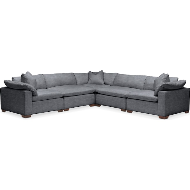 Living Room Furniture - Plush 5 Pc. Sectional- in Milford II Charcoal
