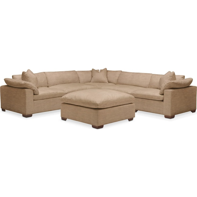 Living Room Furniture - Plush 6 Pc. Sectional- in Hugo Camel
