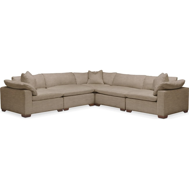 Living Room Furniture - Plush 5 Pc. Sectional- in Statley L Mondo