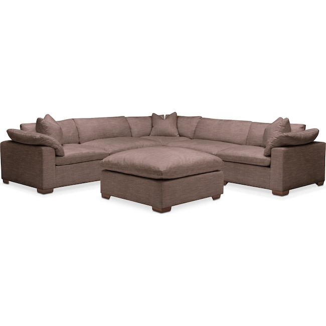 Living Room Furniture - Plush 6 Pc. Sectional- in Oakley III Java