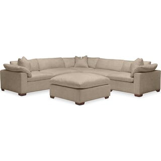 Plush 6 Pc. Sectional- in Dudley Burlap