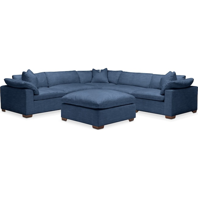 Living Room Furniture - Plush 6 Pc. Sectional- in Hugo Indigo