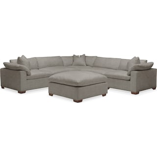 Plush 6 Pc. Sectional- in Victory Smoke