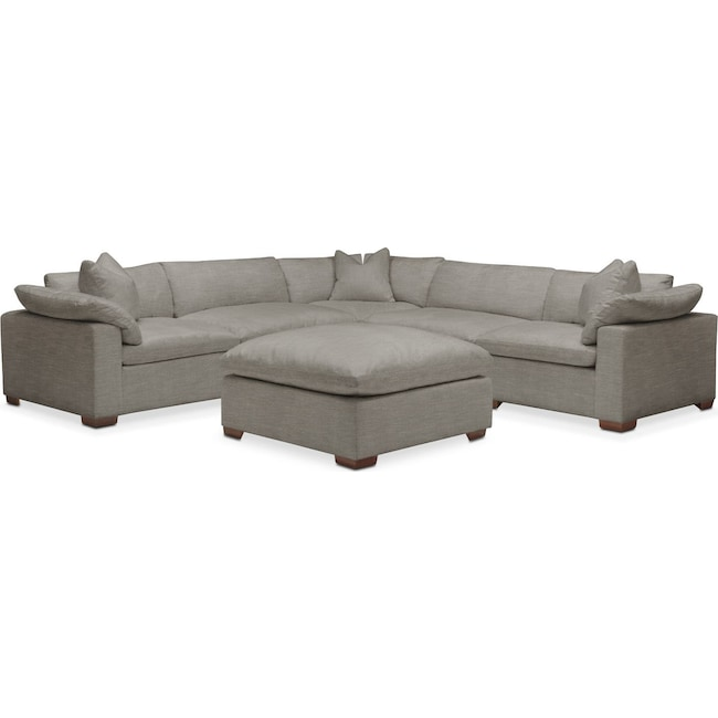 Living Room Furniture - Plush 6 Pc. Sectional- in Victory Smoke