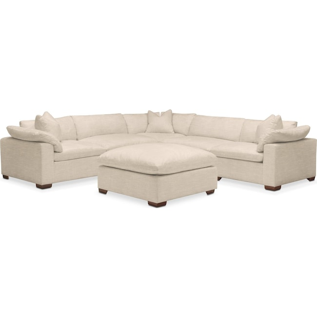 Living Room Furniture - Plush 6 Pc. Sectional- in Victory Ivory