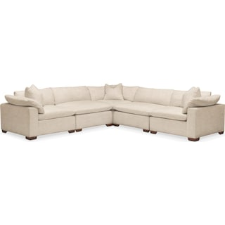 Plush 5 Pc. Sectional- in Victory Ivory