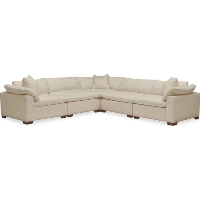 Living Room Furniture - Plush 5-Piece Sectional - Depalma Taupe