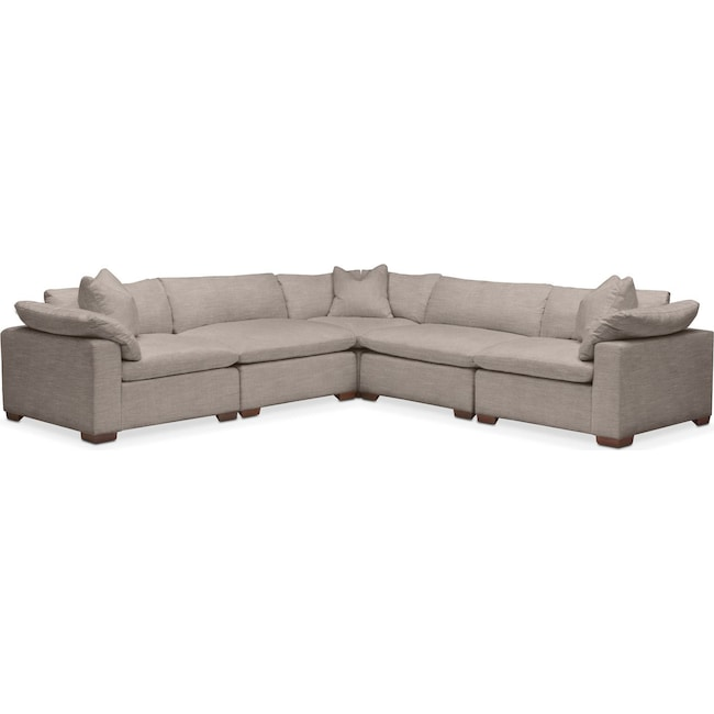 Living Room Furniture - Plush 5 Pc. Sectional- in Abington TW Fog