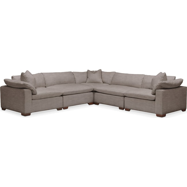 Living Room Furniture - Plush 5 Pc. Sectional- in Oakley III Granite