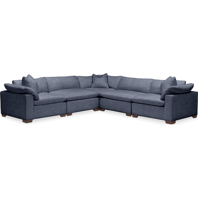 Living Room Furniture - Plush 5 Pc. Sectional- in Curious Eclipse